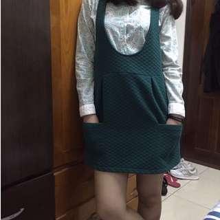 (套裝賣/拆賣)綠碎花襯衫+綠格紋裙子