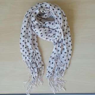 White Scarf With Black Polka Dots