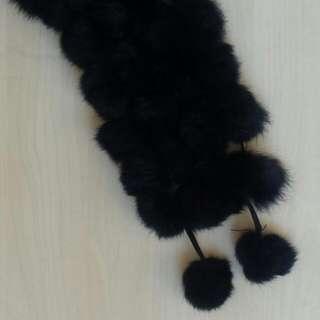Black Fur-ball Scarf