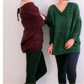全新,日單限定,品質很好兩穿針織長袖上衣,酒紅 綠色
