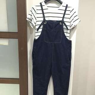 深藍牛仔吊帶褲(不含上衣)