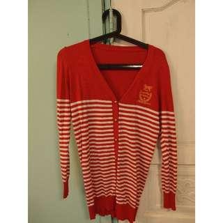 可愛氣質學院風海軍針織外套