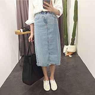 淺藍色牛仔長裙m號