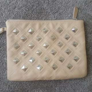 Nude Quilted Studded Clutch Pouch