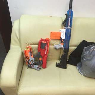 Nerf Zombie Hammer Shot Modified. Mega Cycloneshock Stock. Sonic Ice Retaliator Modded With Omw Stage One Foregrip And Buttstock