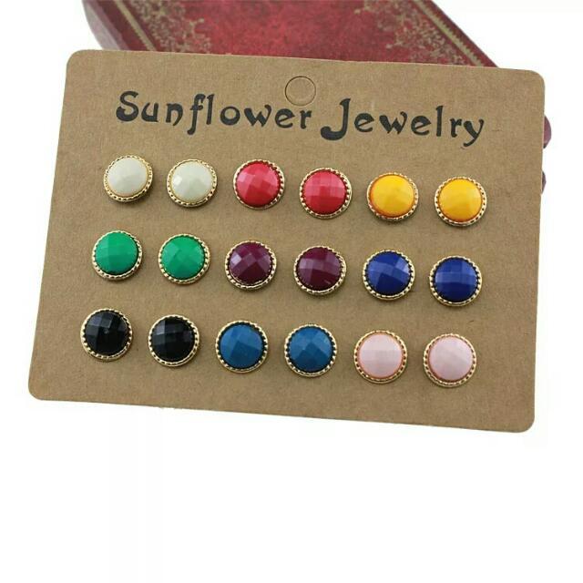 9對金邊糖果色耳環 可以改夾式 可以單買喔