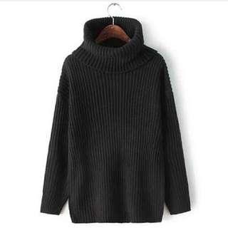 大翻領高領套頭慵懶寬鬆版針織毛衣-黑色