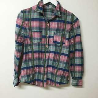 韓製粉綠藍格紋有厚度襯衫