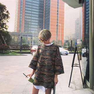 百搭中性個性韓版迷彩寬鬆九分袖長版上衣