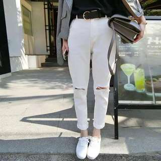 韓版白色男友褲寬褲破洞送腰帶