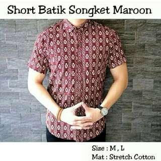 Short Batik Songket Maroon