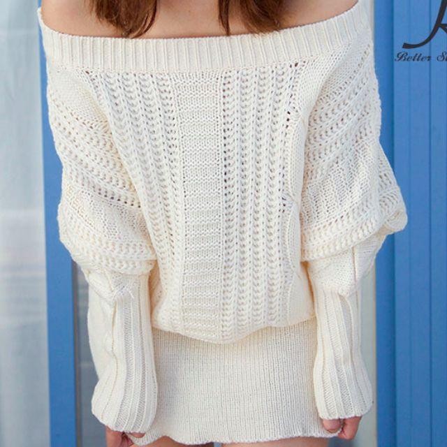 全新,韓國制定白色露肩長版連身裙