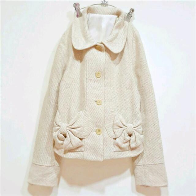 日系甜美蝴蝶結口袋混色圓領毛呢小外套
