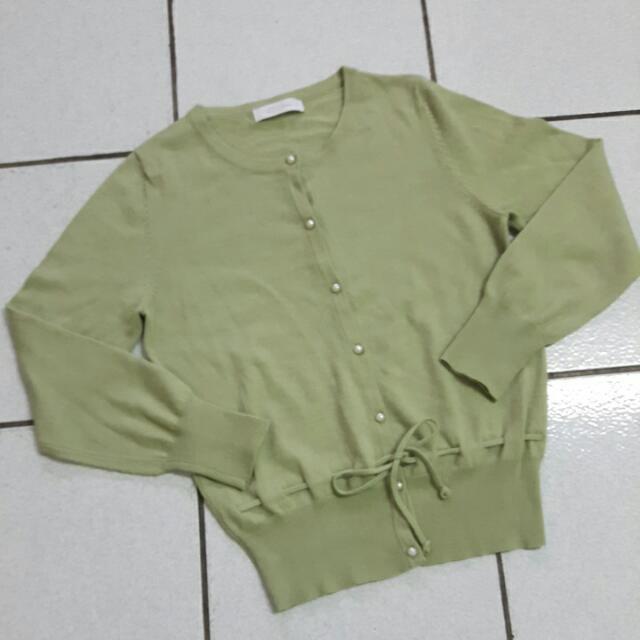 (含運)韓版馬卡龍綠針織縮腰外套