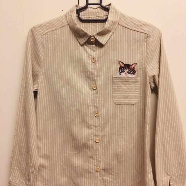 口袋貓咪刺繡條紋卡其長袖襯衫