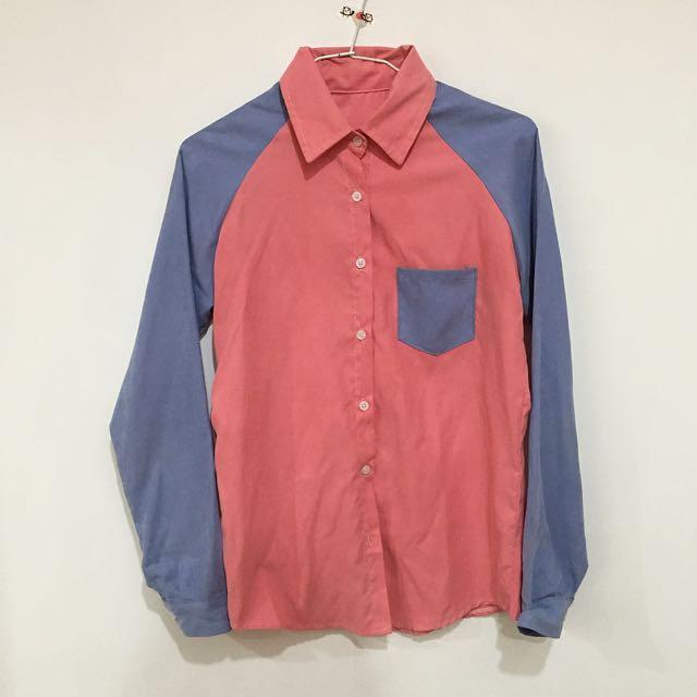 粉藍拼接襯衫