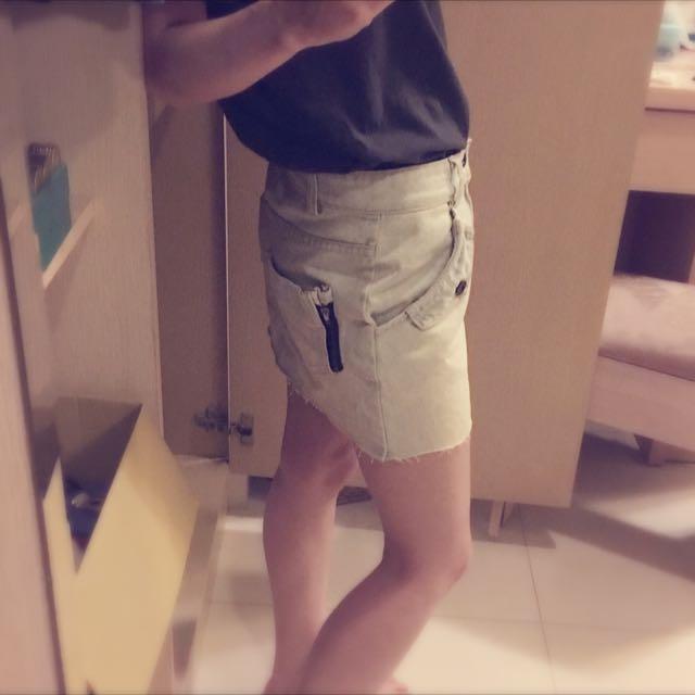 韓 淺色牛仔裙 刷白 美式隨性 不收邊