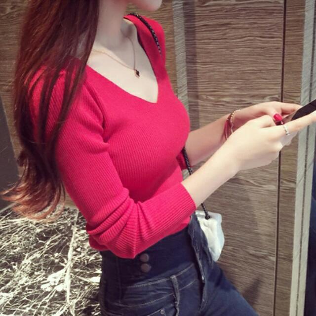 新款 韓版長袖 V領 針織衫 修身 顯瘦 纯色