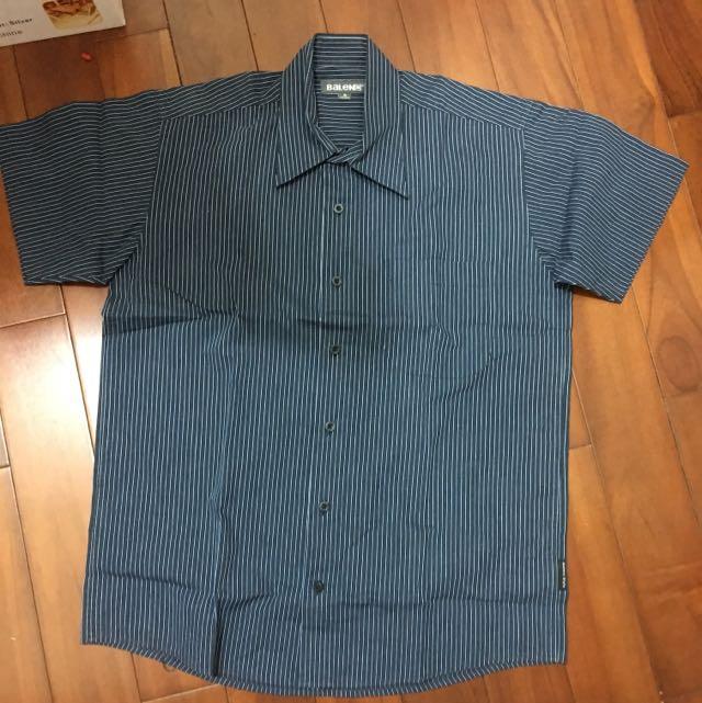 Balen 短袖深藍條紋襯衫