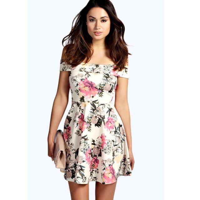 Boohoo Phoebe Off Shoulder  Floral Skater Dress