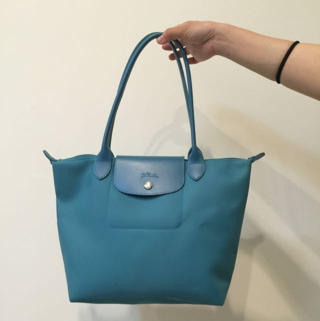 Longchamp經典小型長柄水餃包-松石綠(Tiffany綠)