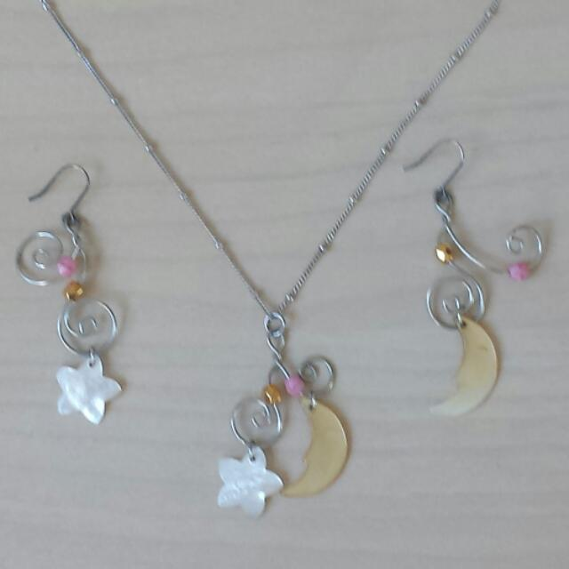 Moon And Stars Necklace And Earrings Set