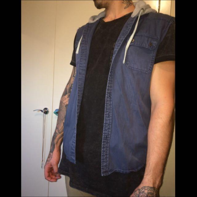 Navy Shirt W/ Grey Hoodie
