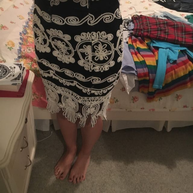 NWOT Black And White Lace Dress Size8/XS