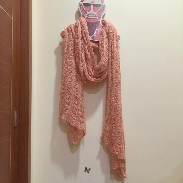 Pazzo 白粉混色圍巾