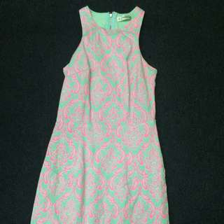 Pink And Pale Green Fitted Dress