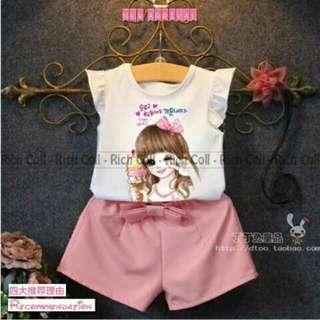 Baju setelan anak perempuan motif ice cream girl modis dan keren untuk umur 3 - 5 tahun.