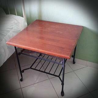 Wooden Top Side Table w Metal Frame