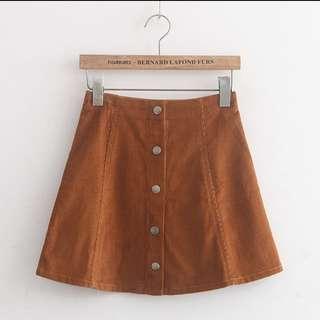 Kaki Suede Button Up Skirt