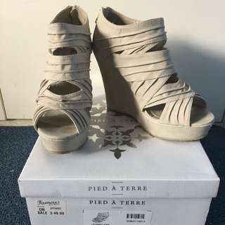 Beige Pied A Terre Wedges