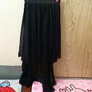 前短後長鬆緊黑紗裙