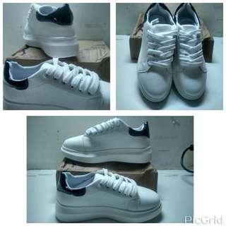 純白 黑白 PU鞋 休閒鞋