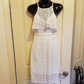 Ajoy White Check Dress Size Xs