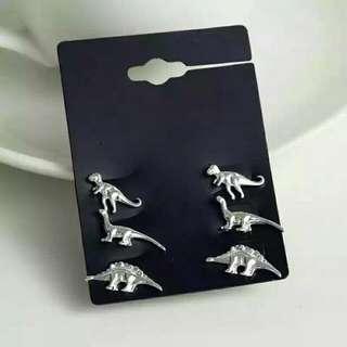 稀有小恐龍耳環/耳夾 金/銀二色可選