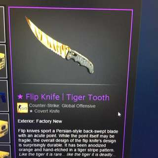 Csgo Tiger Tooth Flip Knife FN