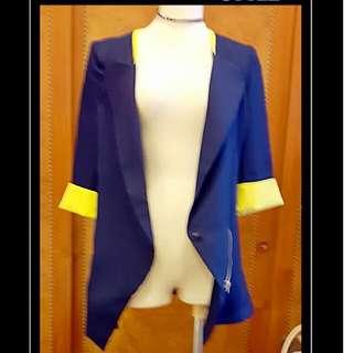 正藍反折黃袖口長版顯瘦西外