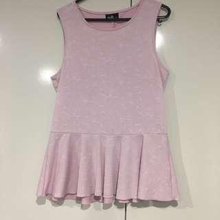 Pink Dotti Peplum Top
