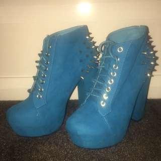 Aqua Blue Started Platform Heels