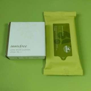 <已預定>Innisfree輕盈持妝氣墊粉餅21號+橄欖卸妝濕巾 Set!