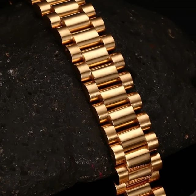 18k Gold Plated Rolex Style President Band Bracelet