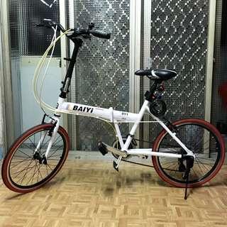 雙碟煞22吋鋁合金24速SHIMANO定位451大輪徑摺疊腳踏車-白