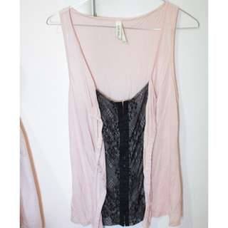 Just Jeans Pink & Black Lace Singlet