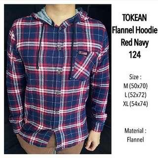 Flannel Hoodie Red Navy 124