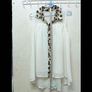 7-8成新‼️豹紋領 鵝黃雪紡小洋裝 無袖襯衫