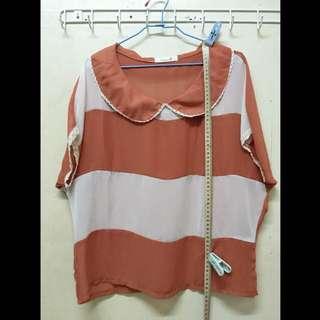 7-8成新‼️橘白雪紡罩衫 全長61cm