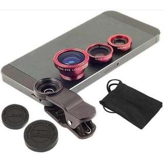 Universal 3 In 1 Fish Eye Clip Lens / Macro Clip Lens / Wide Angle Clip Lens (including lens cap and cleaning cap bag)